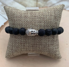 Load image into Gallery viewer, Black and Silver Buddha Men's Diffuser Bracelet