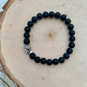 Black and Silver Buddha Men's Diffuser Bracelet
