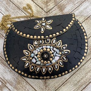 India Bohemian Mosaic Clutch Handbag - Black and Mother of Pearl Eye Design