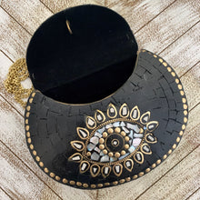 Load image into Gallery viewer, India Bohemian Mosaic Clutch Handbag - Black and Mother of Pearl Eye Design