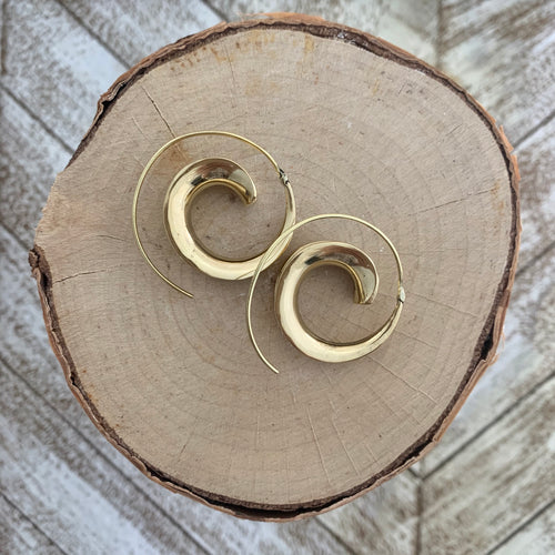 Tribal Spiral Hoop Earring - Gold / Style #1