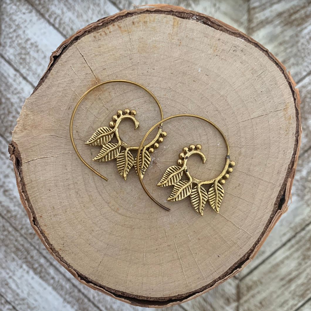 Tribal Spiral Hoop Earring - Gold / Style #3