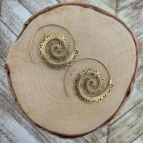 Tribal Spiral Hoop Earring - Gold / Style #6