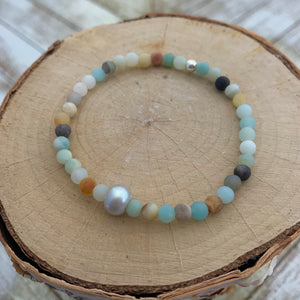 Dainty Matte Amazonite and Freshwater Pearl Bracelet