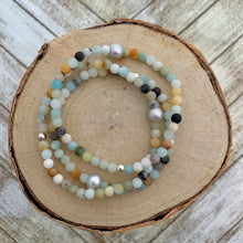 Load image into Gallery viewer, Dainty Matte Amazonite and Freshwater Pearl Bracelet