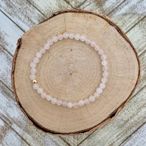 Delicate Rose Quartz and Gold Bracelet