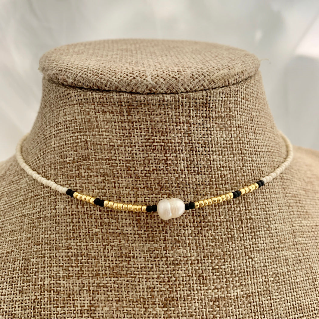 Ivory & Gold Seed Bead and Freshwater Pearl Choker