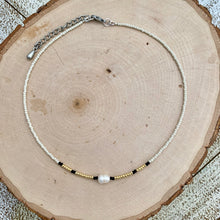 Load image into Gallery viewer, Ivory & Gold Seed Bead and Freshwater Pearl Choker