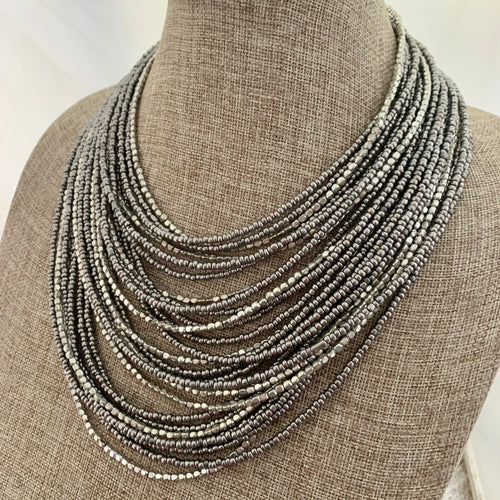 Multi Strand Silver Statement Necklace