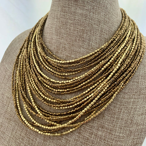 Multi Strand Gold Statement Necklace