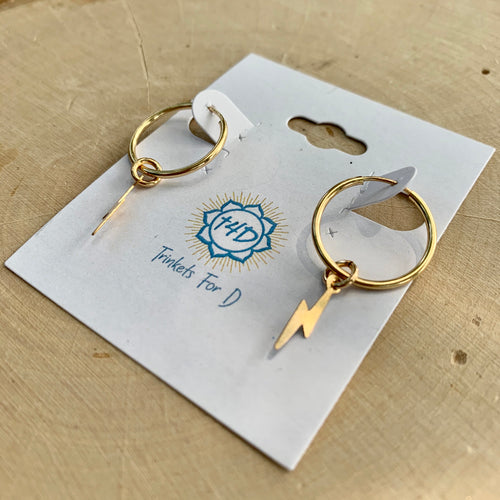Small Gold Hoop Earrings with Lightning Bolts