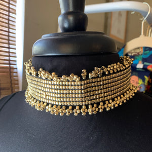 Wide Gold Beaded Choker