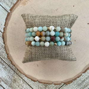 Matte Amazonite and Freshwater Pearl Bracelet