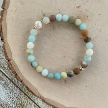 Load image into Gallery viewer, Matte Amazonite and Freshwater Pearl Bracelet