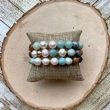 Load image into Gallery viewer, Large Amazonite, Gold and Freshwater Pearl Bracelet