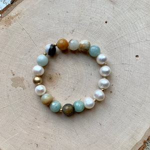 Large Amazonite, Gold and Freshwater Pearl Bracelet