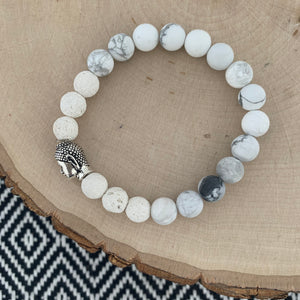 White and Silver Buddha Women's Diffuser Bracelet
