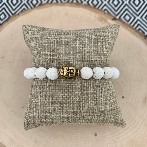 White and Gold Buddha Women's Diffuser Bracelet