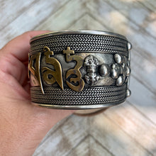 Load image into Gallery viewer, Om Mani Padme Hum Mantra Wide Silver Cuff