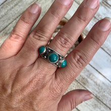 Load image into Gallery viewer, Three Tibetan Turquoise Silver Ring