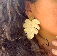 Load image into Gallery viewer, Seed Bead Ivory Monstera Leaf Earrings