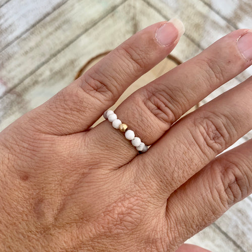 White Howlite Beaded Ring
