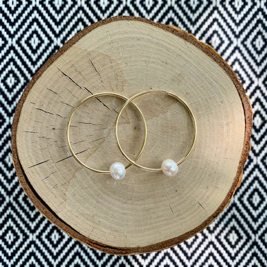 Gold Hoop with Small Freshwater Pearl