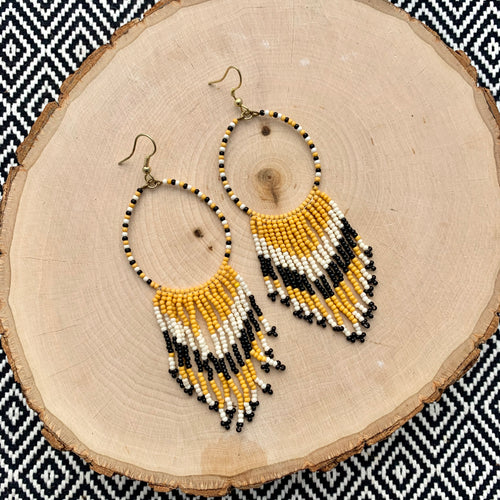 Tribal Seed Bead Drop Earrings - Black and Gold