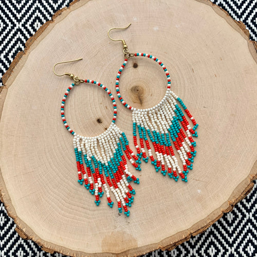 Tribal Seed Bead Drop Earrings - Red & Turquoise