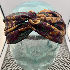 India Silk Headband - Wine & Gold Floral