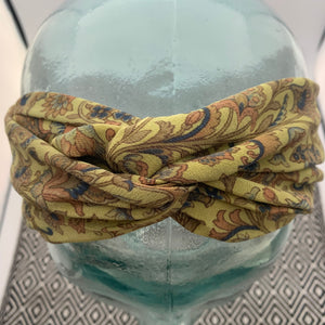 India Silk Headband - Moss, Dusty Rose Floral