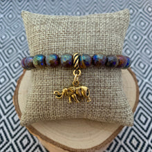 Load image into Gallery viewer, Copper Tiger Eye and Elephant Charm Bracelet