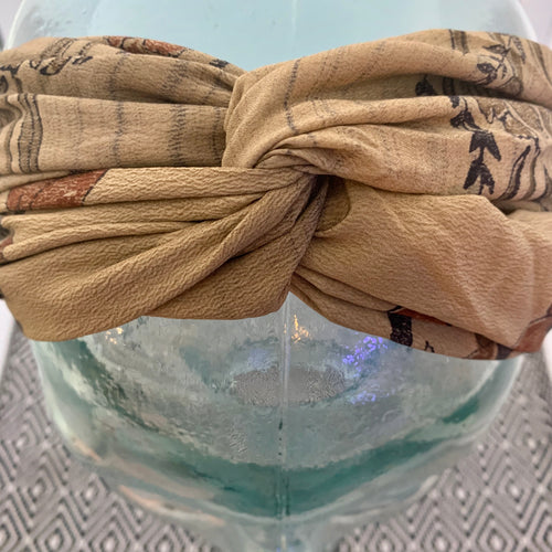 India Silk Headband - Black & Brown Floral