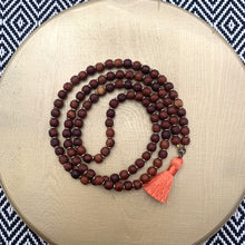 Load image into Gallery viewer, Small Rosewood Mala with Peach Mini Tassel