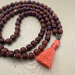 Small Rosewood Mala with Peach Mini Tassel