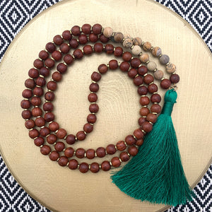 Large Rosewood Mala with Picture Jasper and Long Green Tassel