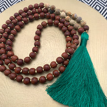 Load image into Gallery viewer, Large Rosewood Mala with Picture Jasper and Long Green Tassel