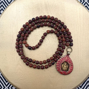 Small Rosewood Mala with Coral Buddha Shrine Amulet