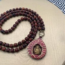 Load image into Gallery viewer, Small Rosewood Mala with Coral Buddha Shrine Amulet