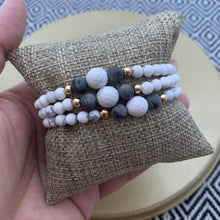 Load image into Gallery viewer, White Howlite and Picasso Jasper Bracelet