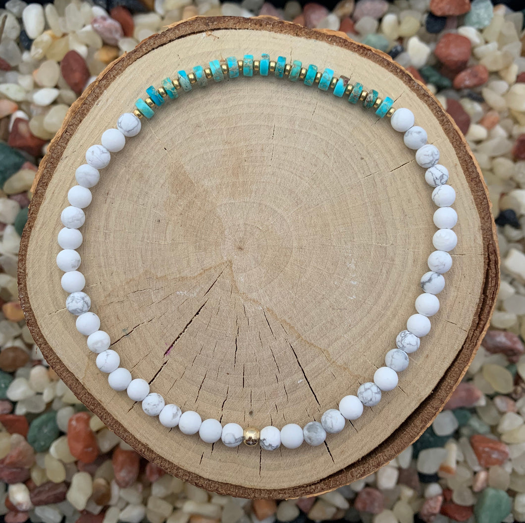 Howlite and Turquoise Stretch Anklet