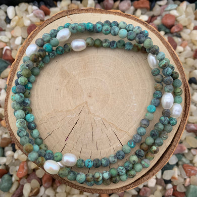 Turquoise and Pearl Stretch Anklet