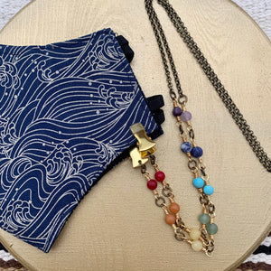 Chakra / Pride Antiqued Brass Chain Facemask & Eyeglass Chain