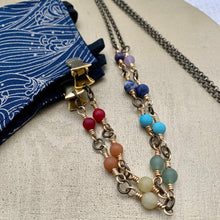 Load image into Gallery viewer, Chakra / Pride Antiqued Brass Chain Facemask & Eyeglass Chain
