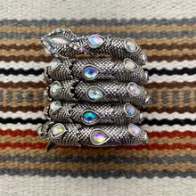 Load image into Gallery viewer, Antiqued Silver and Iridescent Clear Glass Snake Wrap Cuff Bracelet