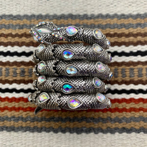 Antiqued Silver and Iridescent Clear Glass Snake Wrap Cuff Bracelet