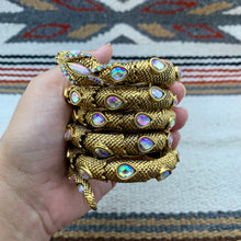 Load image into Gallery viewer, Antiqued Gold and Iridescent Clear Glass Snake Wrap Cuff Bracelet
