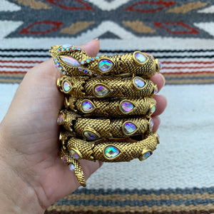 Antiqued Gold and Iridescent Clear Glass Snake Wrap Cuff Bracelet