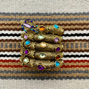 Antiqued Gold and Multi Color Glass Snake Wrap Cuff Bracelet