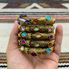 Load image into Gallery viewer, Antiqued Gold and Multi Color Glass Snake Wrap Cuff Bracelet